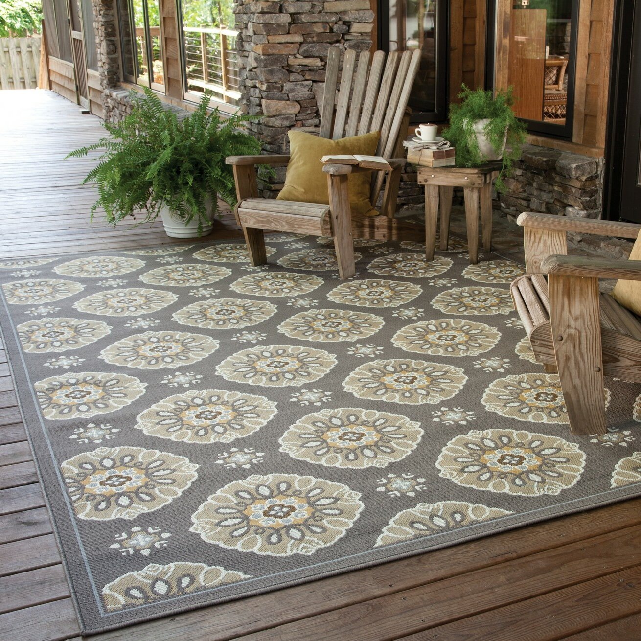 Threadbind milltown grey gold indoor outdoor area rug for Indoor out door rugs