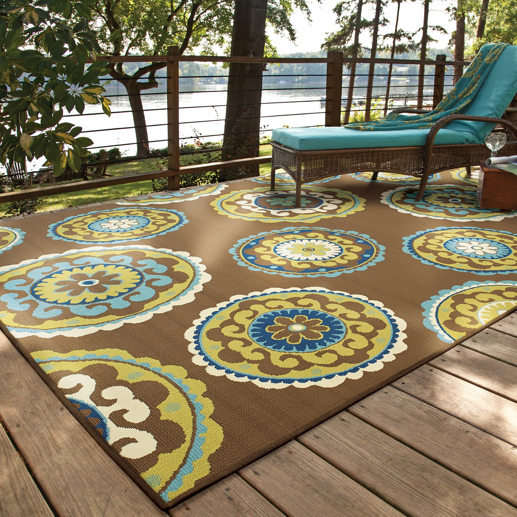 Threadbind Newfield Brown Green Indoor Outdoor Area Rug