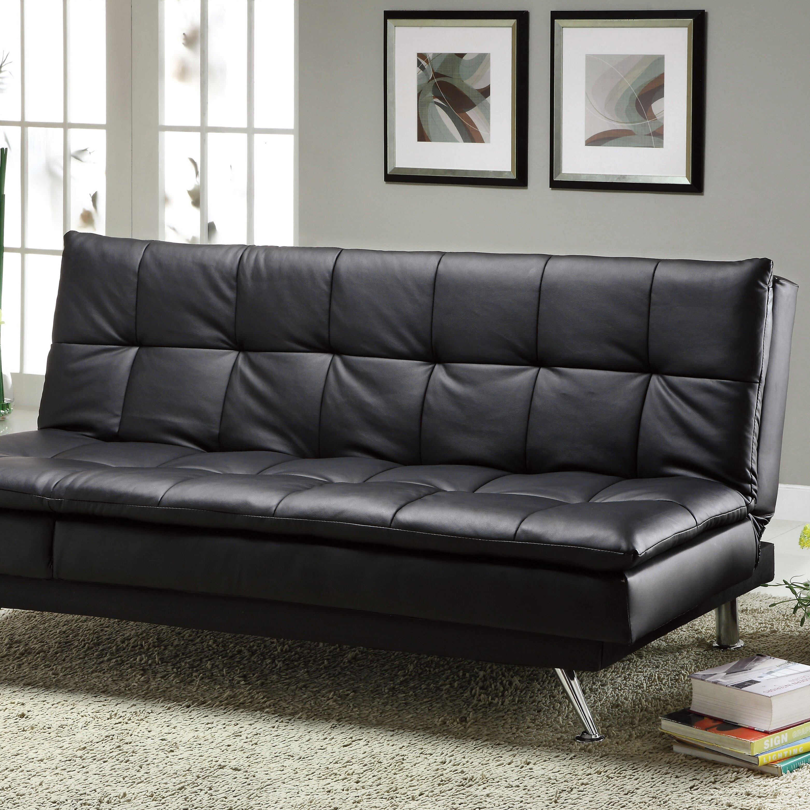 Latitude Run Black Faux Leather Sleeper Sofa Reviews