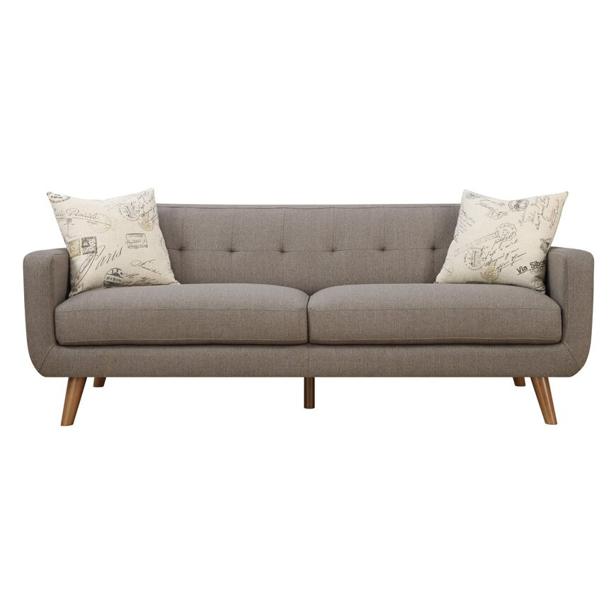 Latitude run mid century modern sofa with accent pillows for Modern contemporary sofa