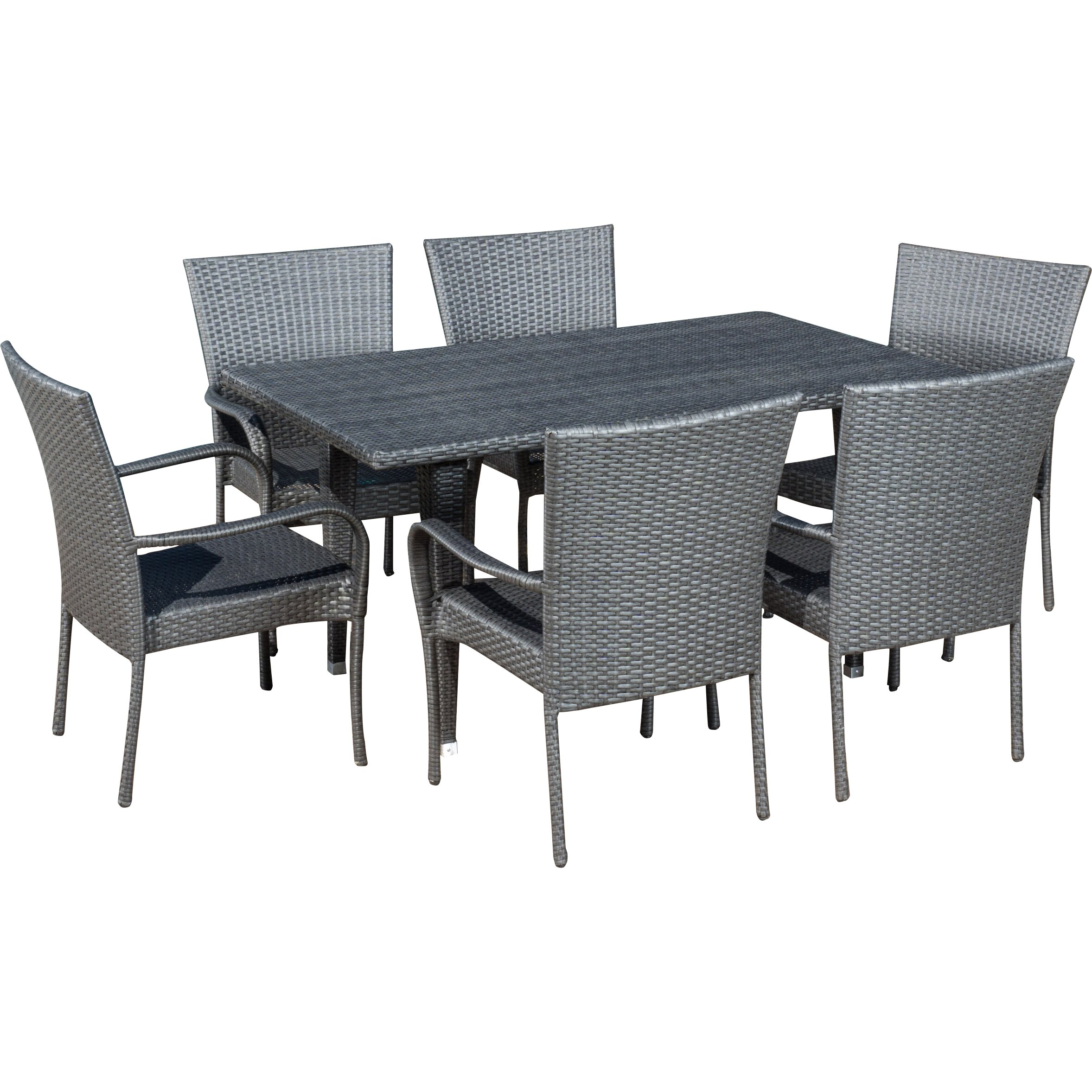 Latitude run marissa outdoor 7 piece dining set reviews for Outdoor furniture 7 piece