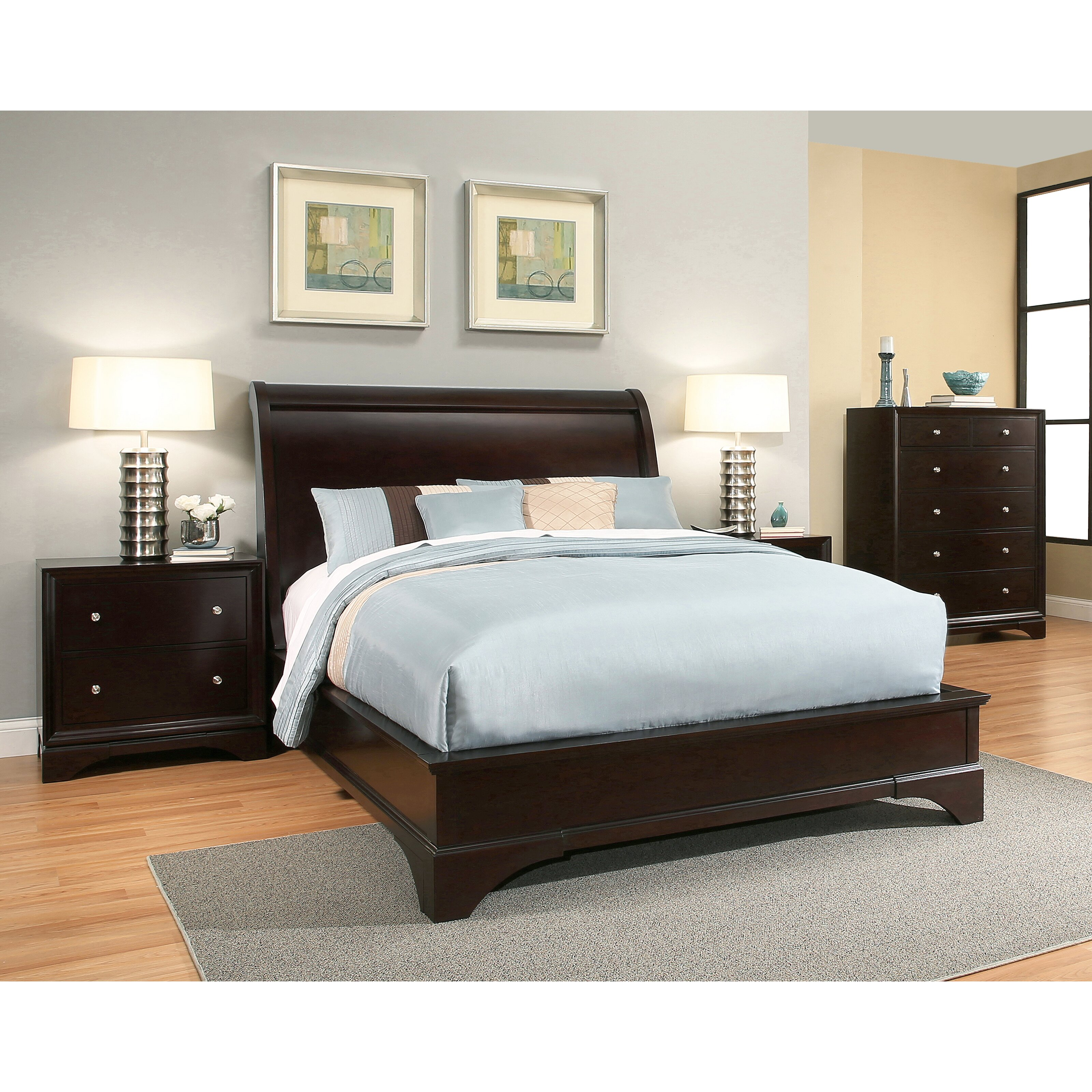 Latitude run juliana sleigh 4 piece bedroom set wayfair for Bedroom 4 piece set