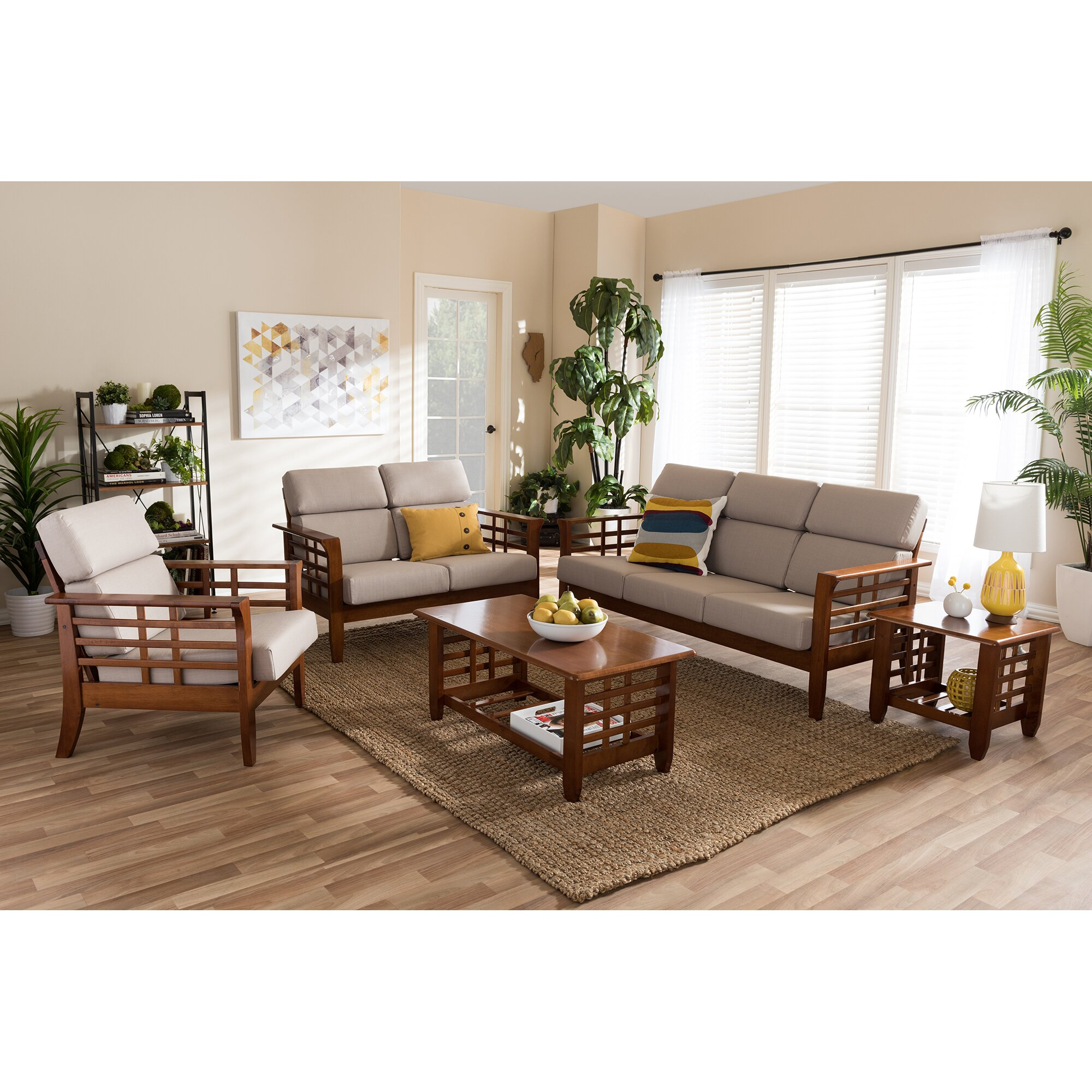 Latitude run aguon 5 piece living room set reviews wayfair for 5 piece living room furniture
