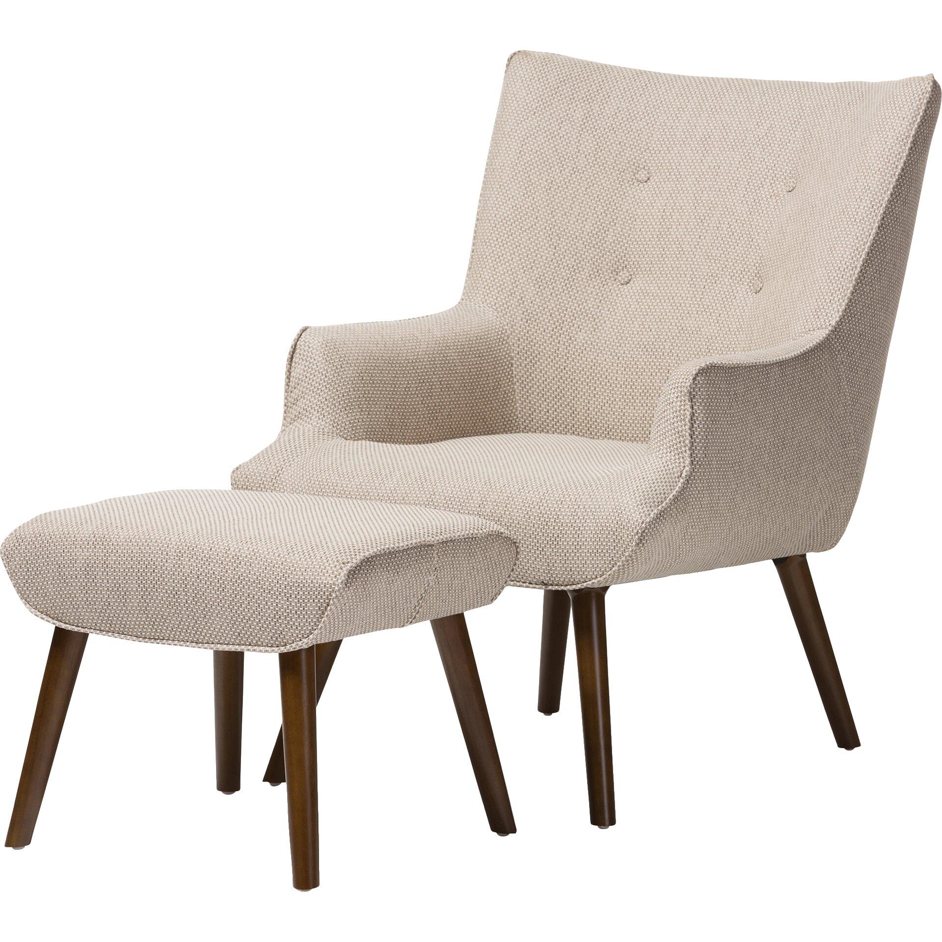 Latitude Run Manuel Wingback Arm Chair And Ottoman