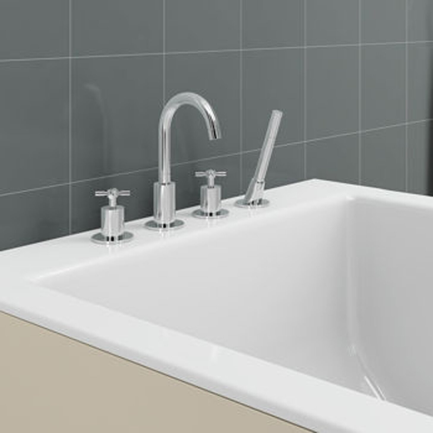 Handle Deck Mount Bathtub Faucet with Shower Wand amp; Reviews  Wayfair