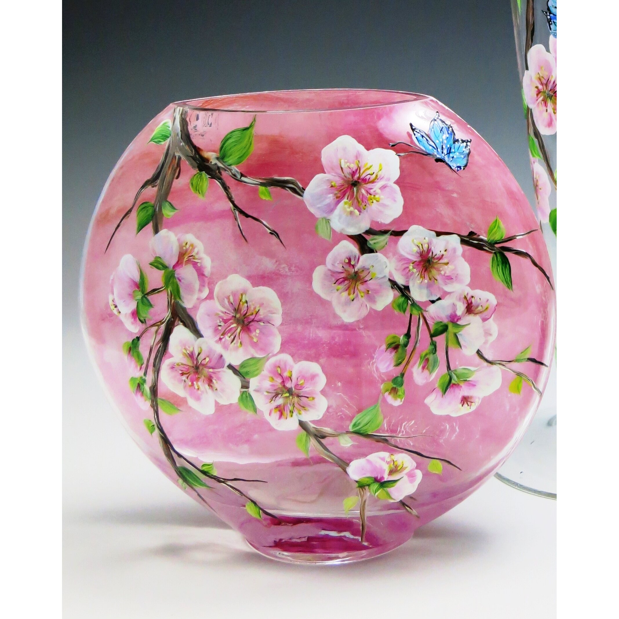 Painted Glass Vase Quot Cherry 28 Images Painted Glass Vase Blue Birds Cherry