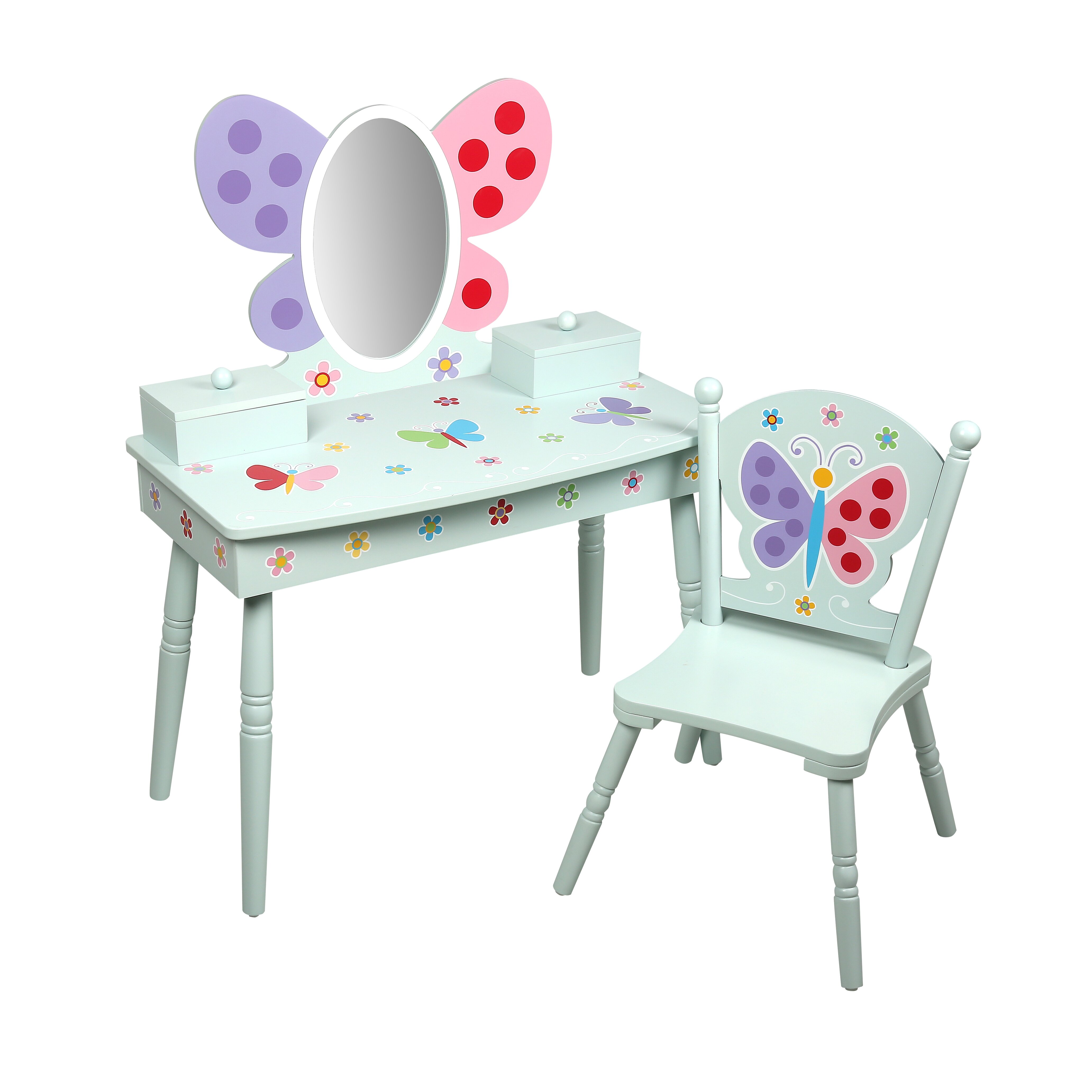 Levels Of Discovery Olive Butterfly Garden Kids Vanity Set