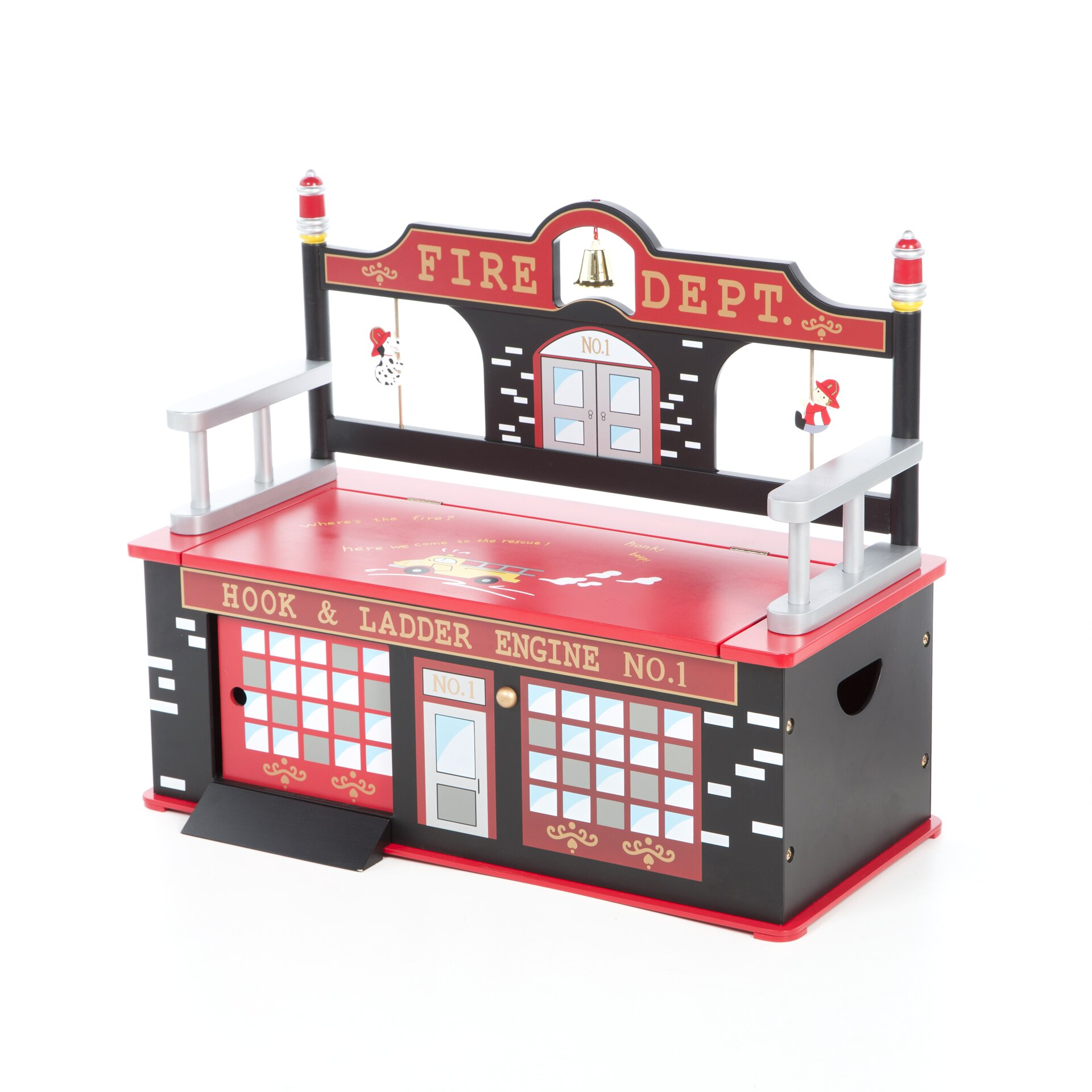Levels Of Discovery Firefighter Kids Bench With Storage