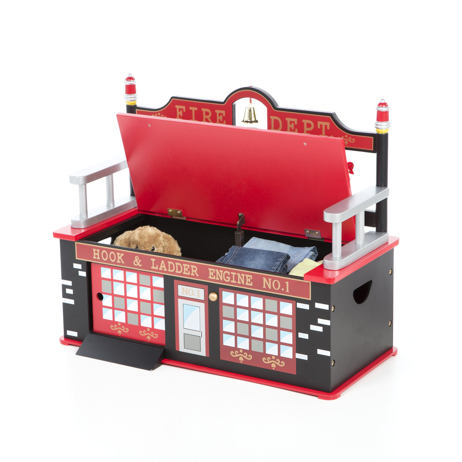 Levels Of Discovery Firefighter Kids Bench With Storage Compartment Reviews Wayfair