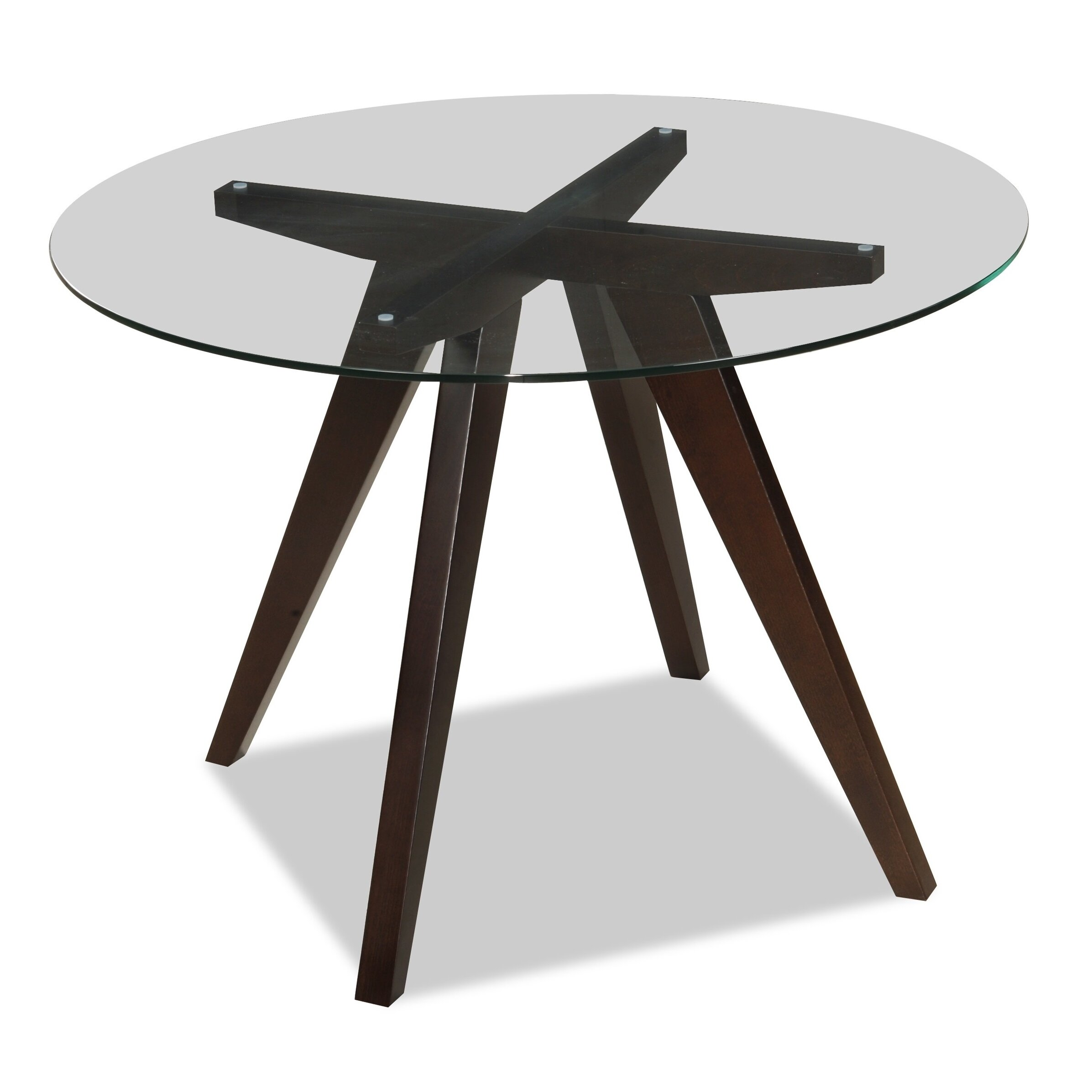 Mauna Tempered Glass Top Round Dining Table Set: Homegear Caleope Dining Table