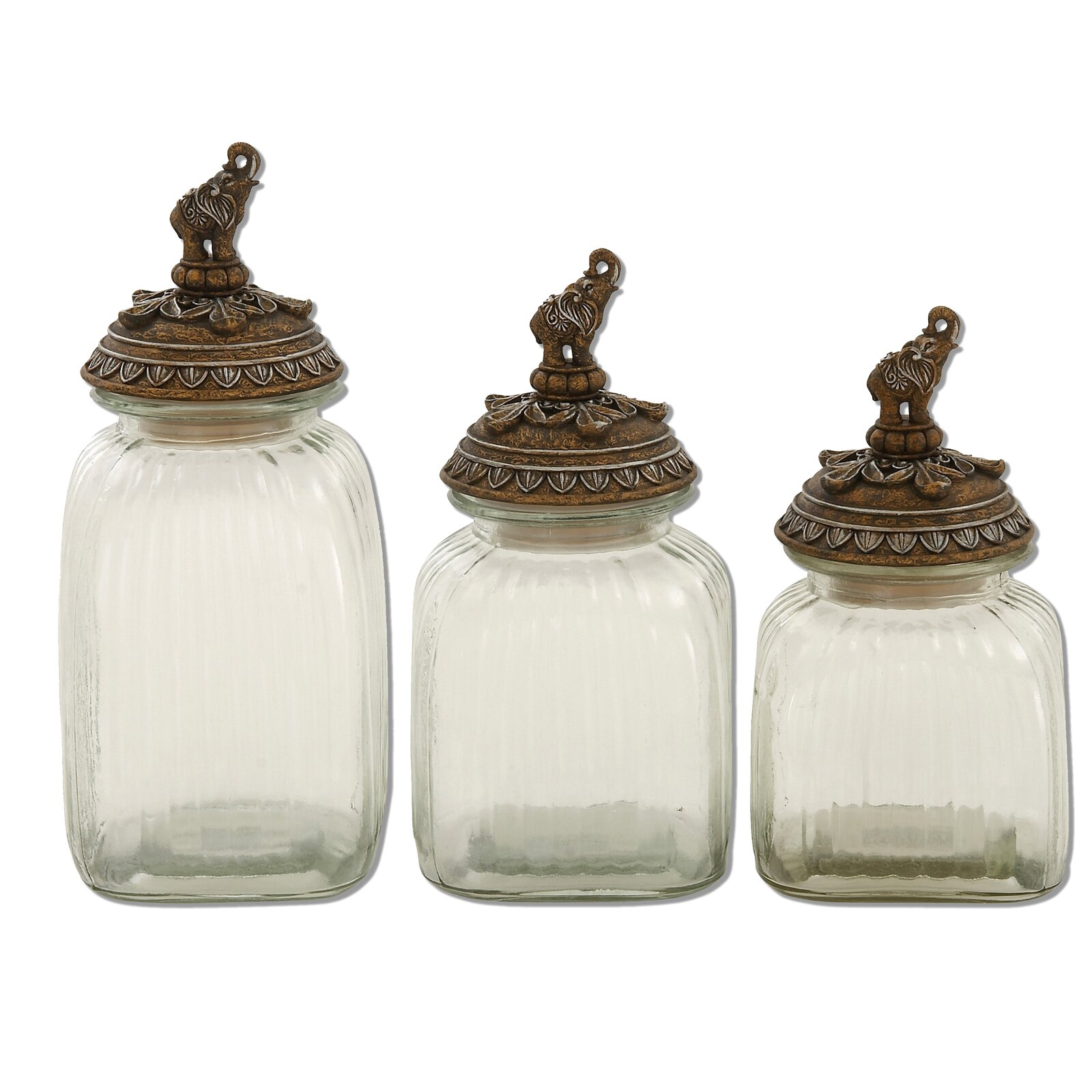 Urban designs 3 piece elephant canister set wayfair for Hearth and home designs canister set