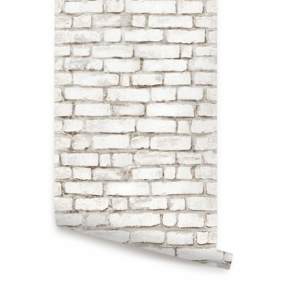 simpleshapes peel and stick 9 39 x 24 brick tile wallpaper reviews wayfair. Black Bedroom Furniture Sets. Home Design Ideas