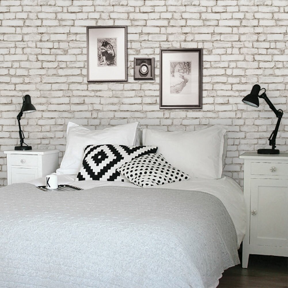 Simpleshapes peel and stick 4 39 x 24 brick tile wallpaper for Grey brick wallpaper bedroom