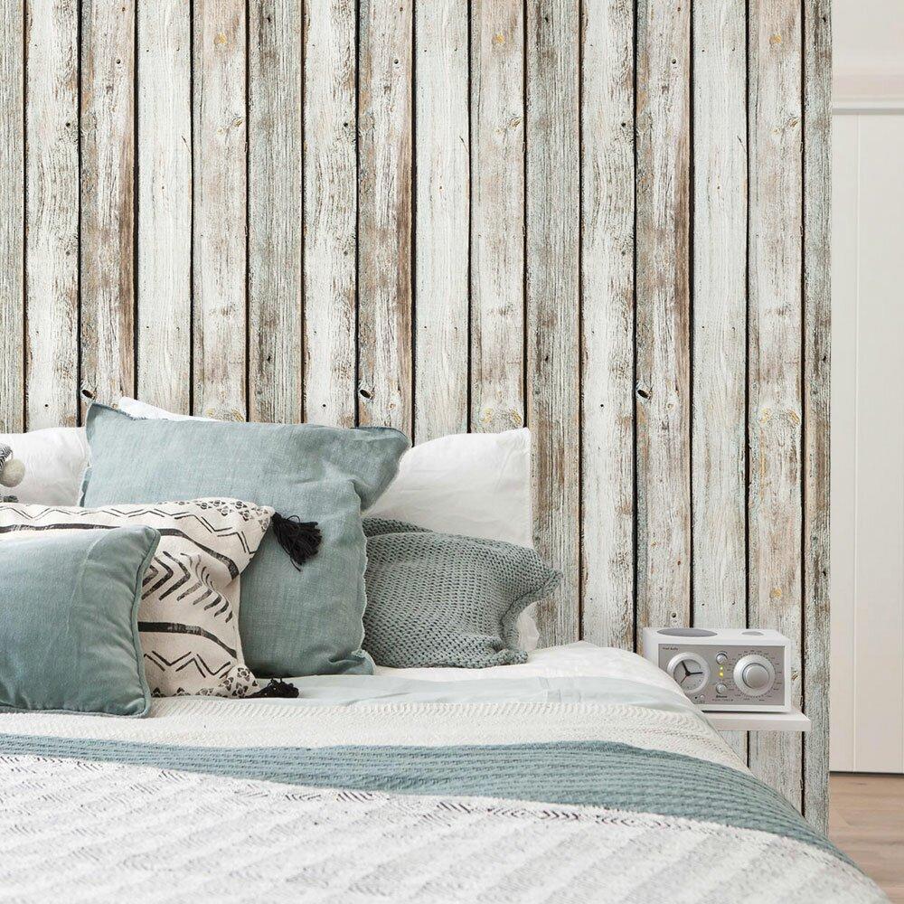 Simpleshapes vintage wood panels wallpaper wayfair for Wayfair bathroom wallpaper