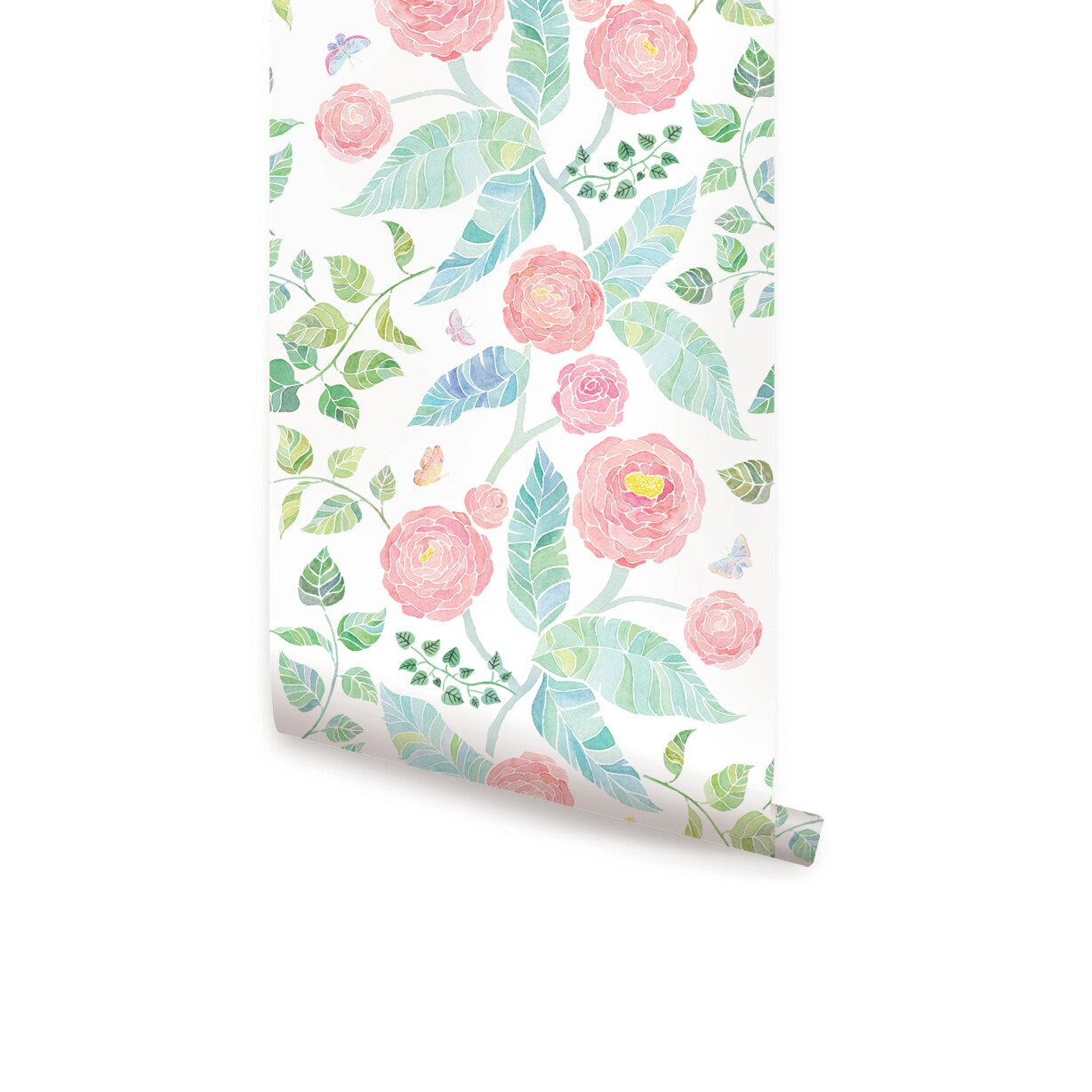 Simpleshapes spring garden flowers peel and stick panel Floral peel and stick wallpaper