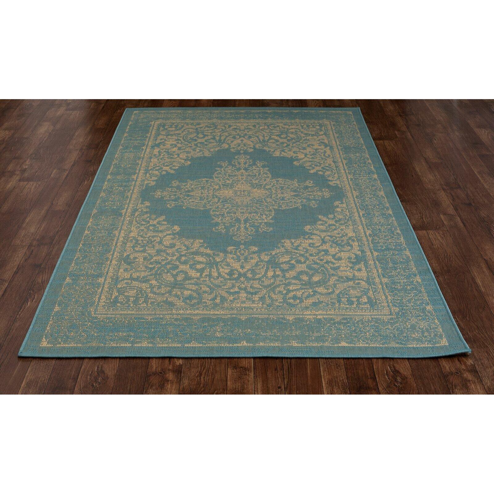 Art Carpet Plymouth Teal/Beige Indoor/Outdoor Area Rug