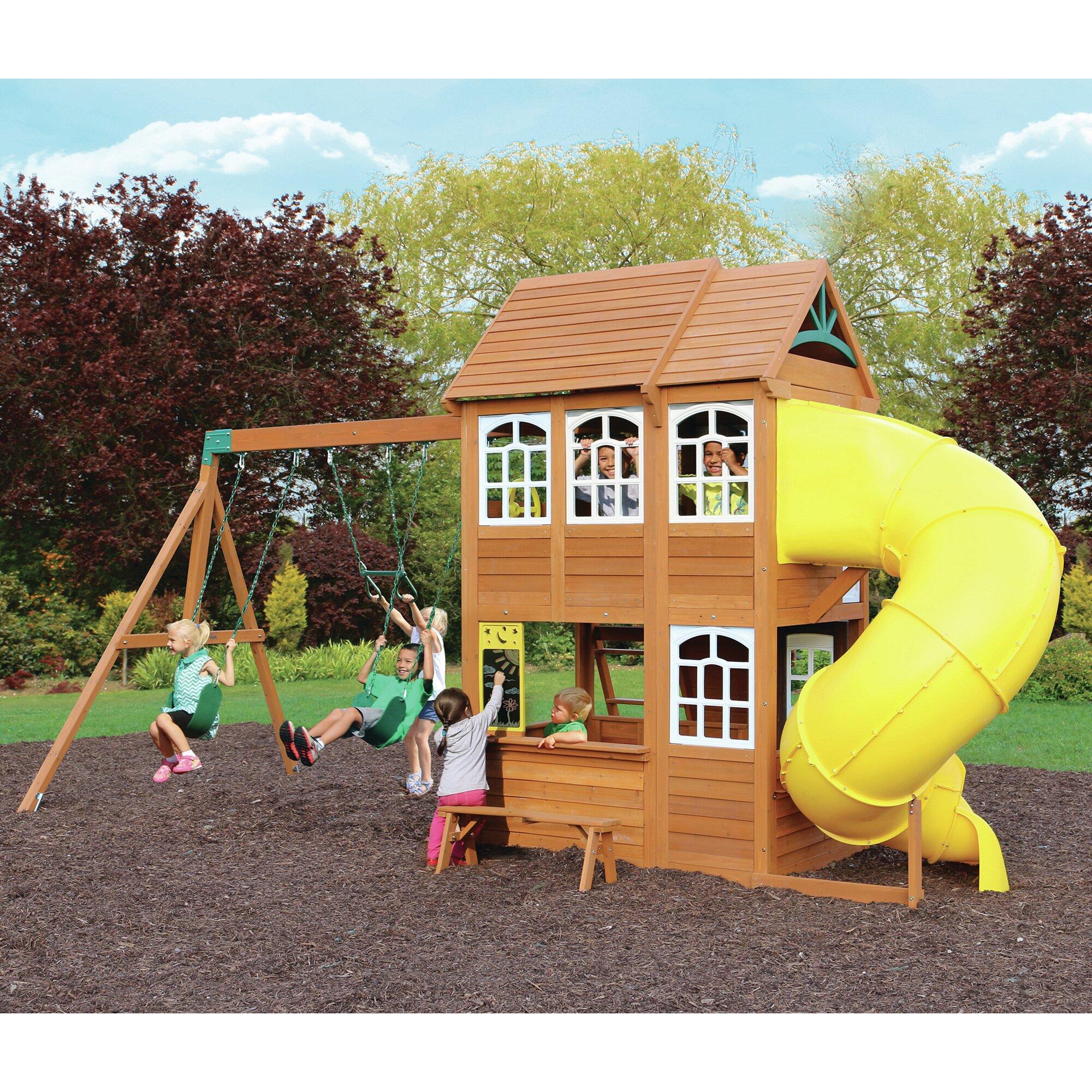 cedar summit richmond lodge wooden play swing set. Black Bedroom Furniture Sets. Home Design Ideas