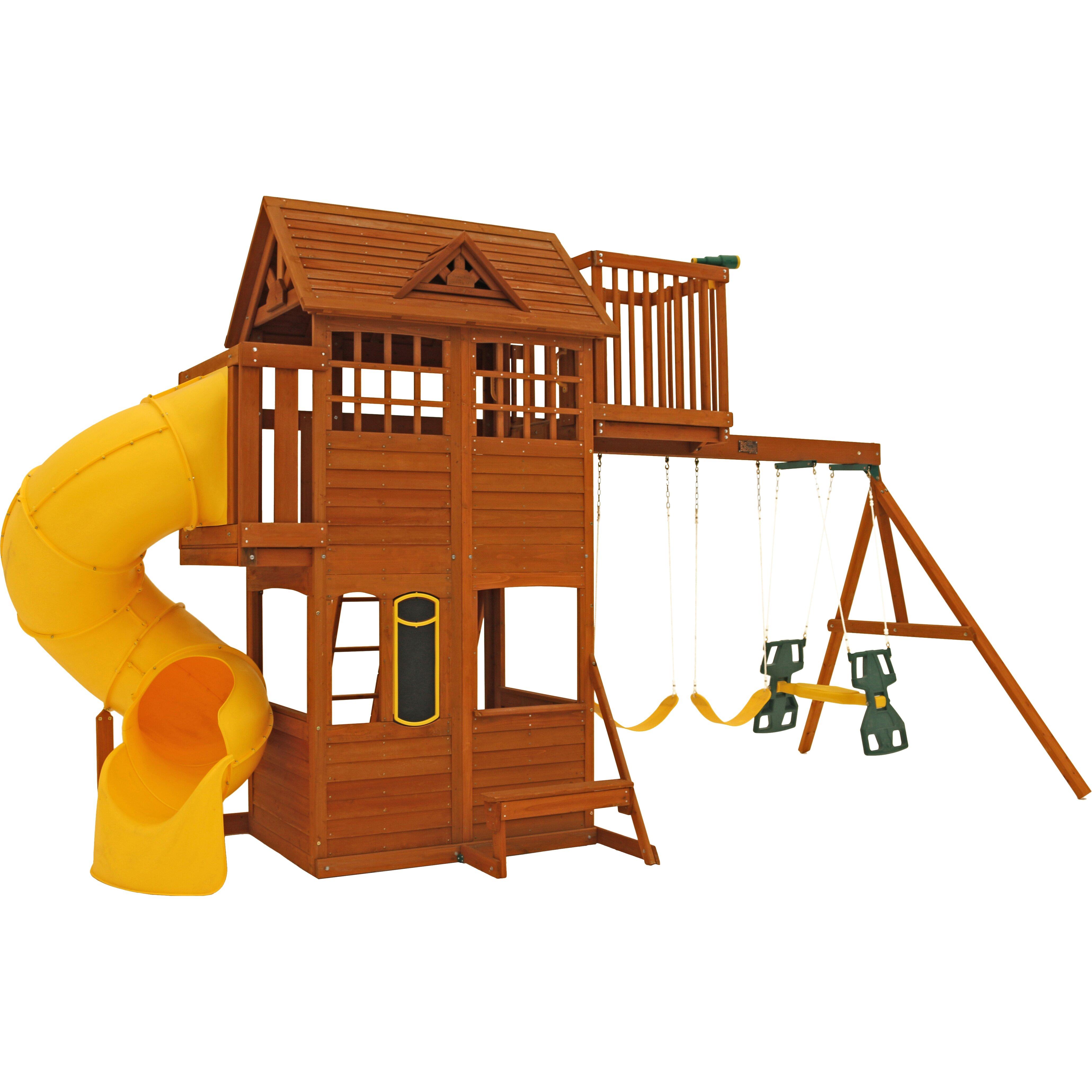 cedar summit abbeydale clubhouse wooden swing set. Black Bedroom Furniture Sets. Home Design Ideas