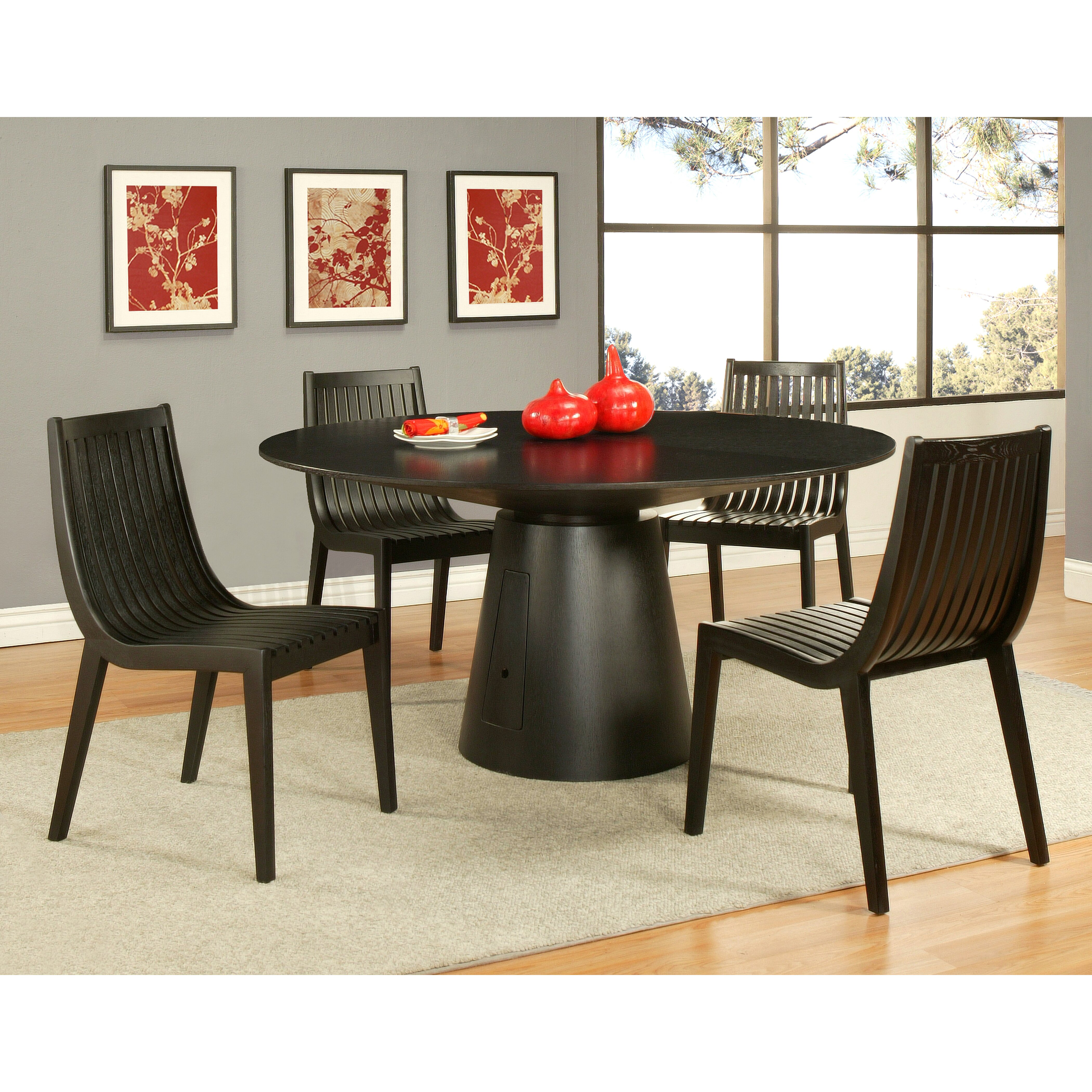 Impacterra oslo 5 piece dining set allmodern for All wood dining room sets