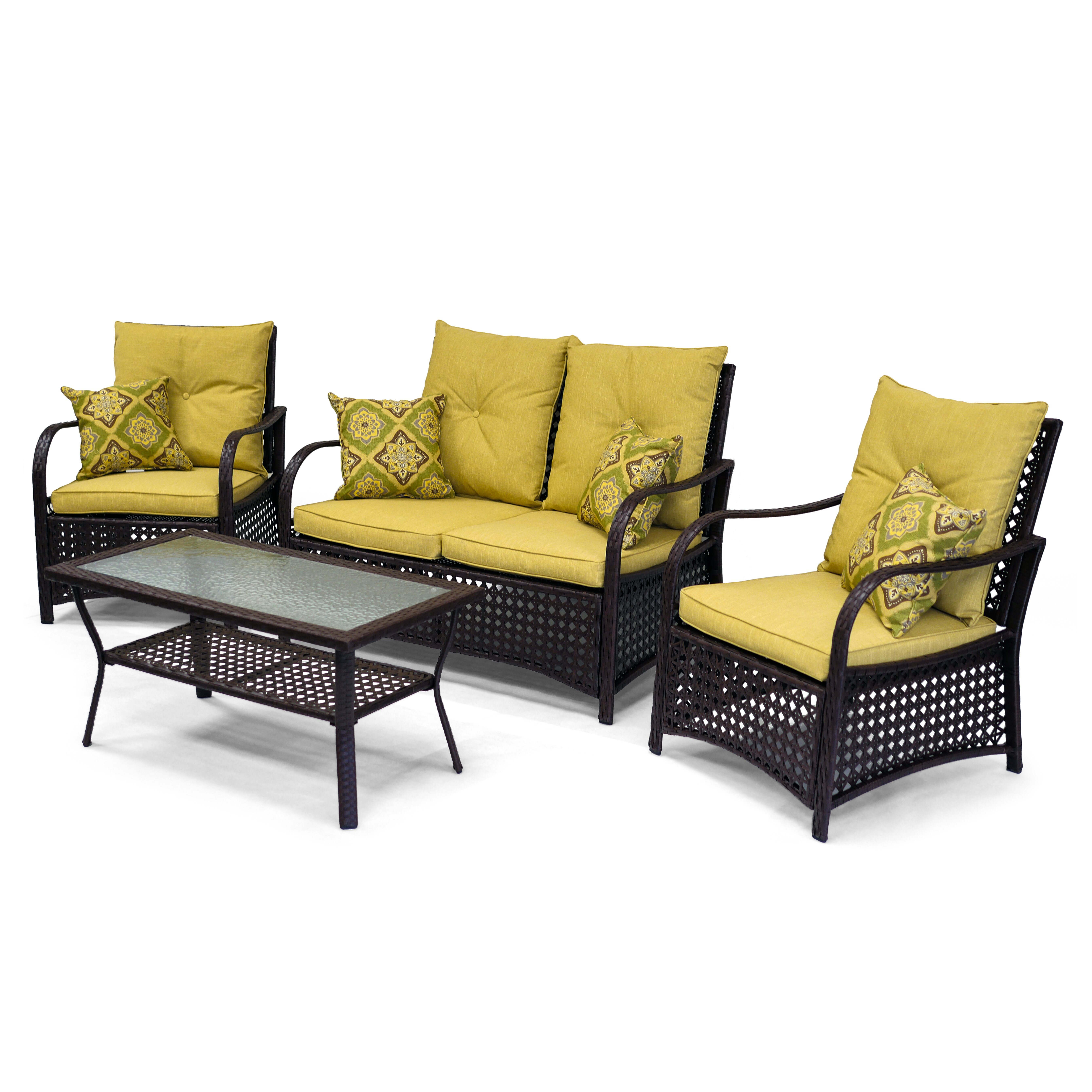Sol siesta clubhouse 4 piece deep seating group reviews for Deep seating patio furniture