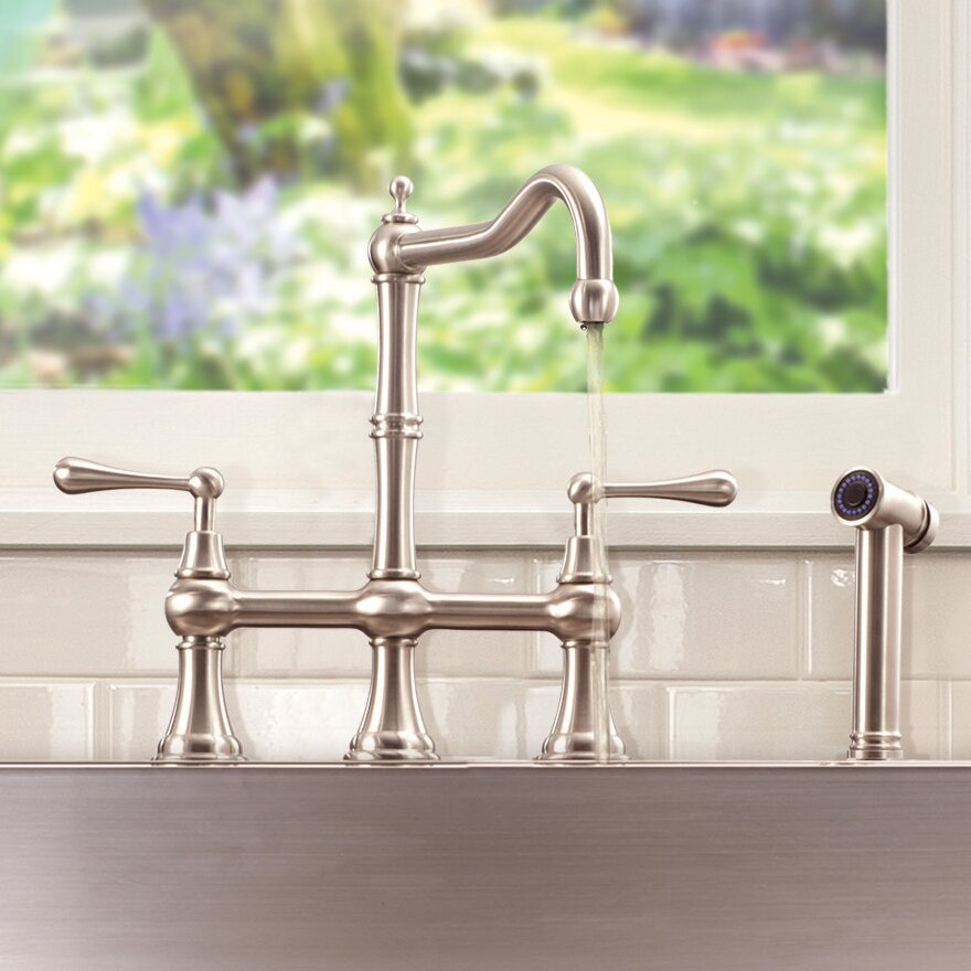 Lenova Double Handle Kitchen Sink Faucet With Pull Down