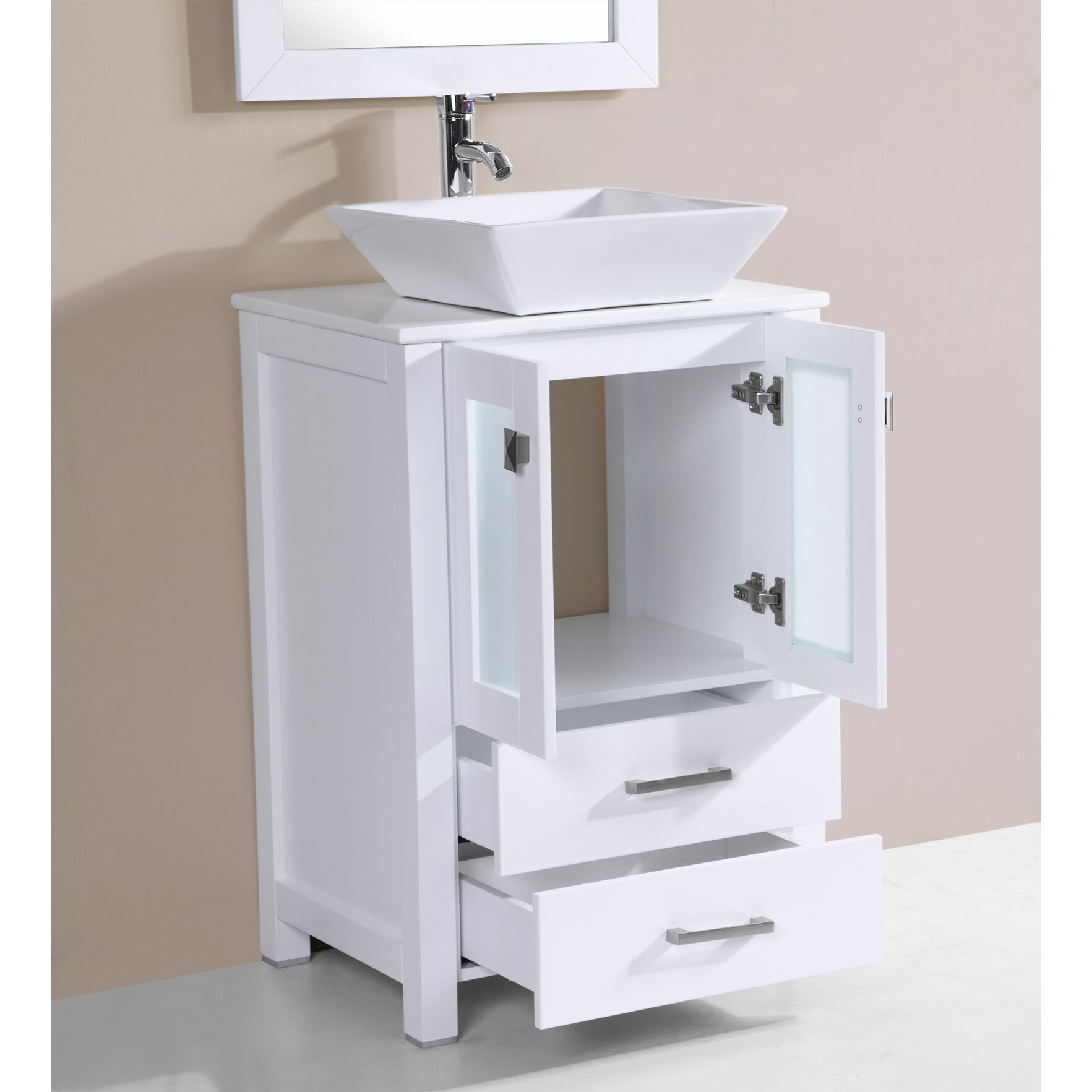 Collection Newport 24 Single Modern Bathroom Vanity Set With Mirror