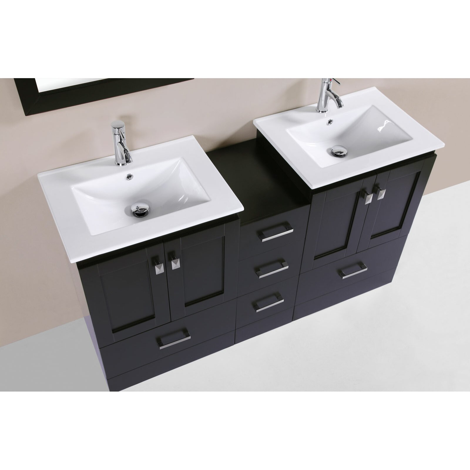 redondo 60 double modern bathroom side cabinet vanity set with mirror