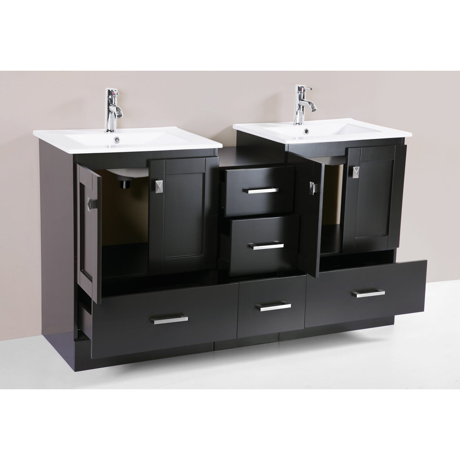 Pacificcollection redondo 60 double modern bathroom side cabinet vanity set with mirror wayfair - Kona modern bathroom vanity set ...