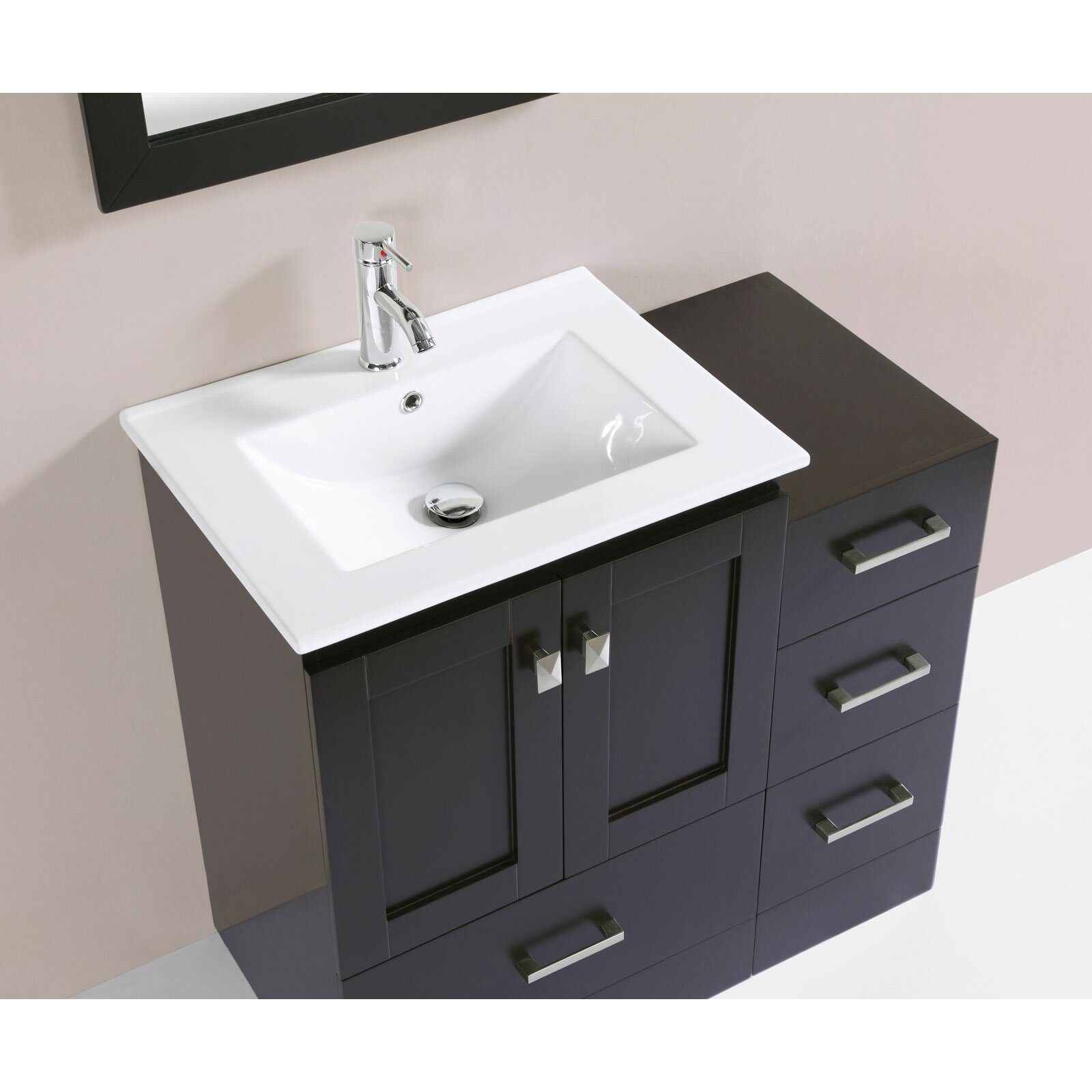 redondo 36 single modern bathroom side cabinet vanity set with mirror