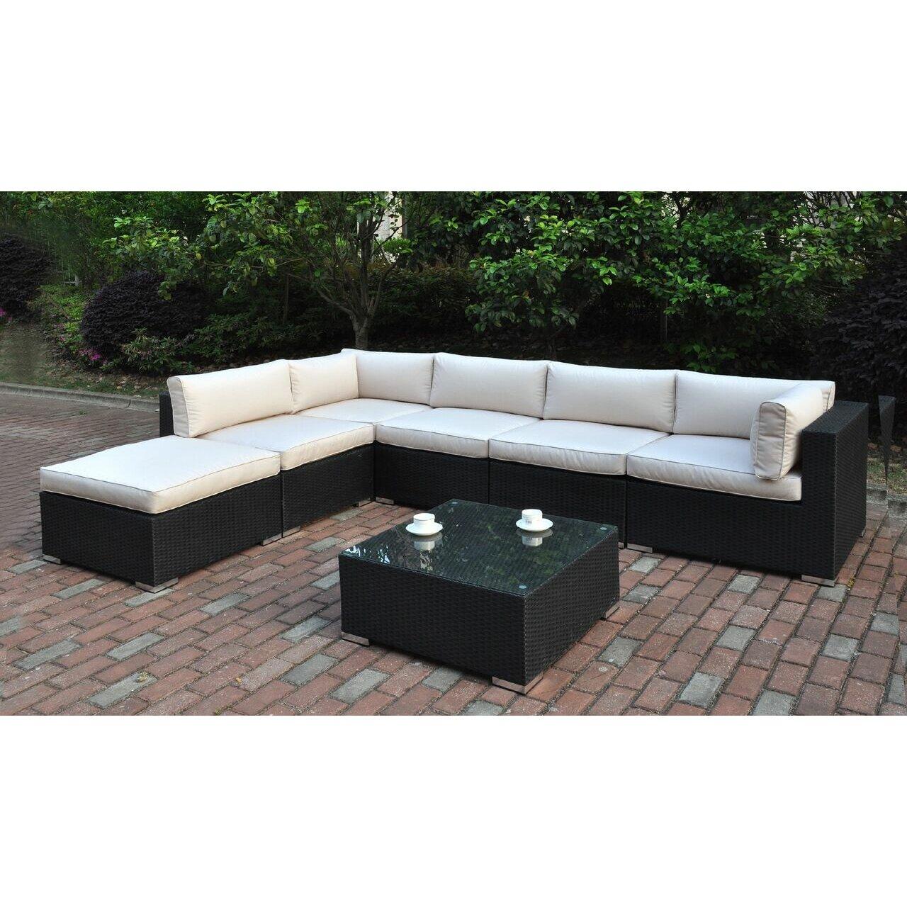 Jb patio 7 piece deep seating group with cushion wayfair for 7 piece modular sectional sofa