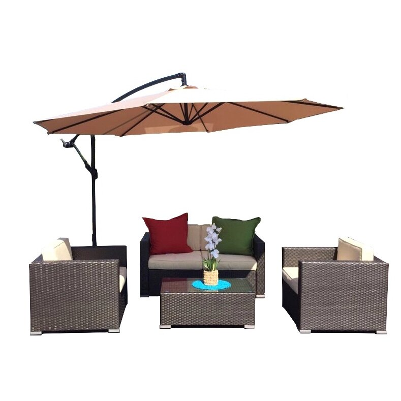 JB Patio Patio Wicker 5 Piece Deep Seating Group With Cushion Wayfair