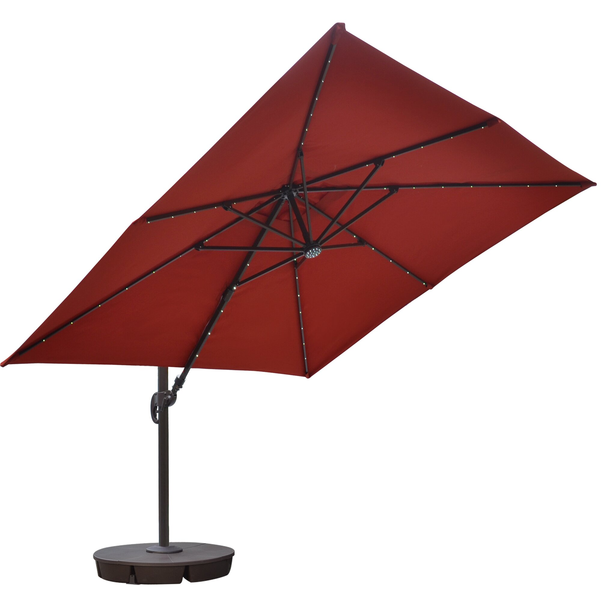 Island umbrella 10 39 santorini ii square illuminated for Patio table umbrella 6 foot