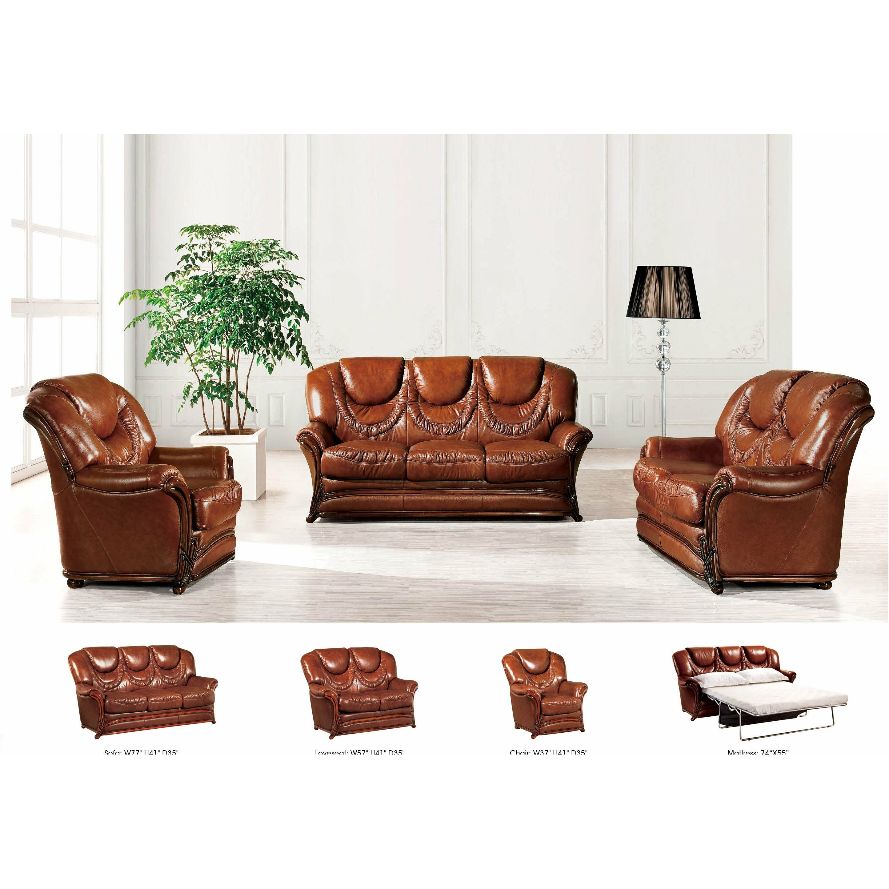 Nocidesign 3 piece leather living room set wayfair for Leather living room sets