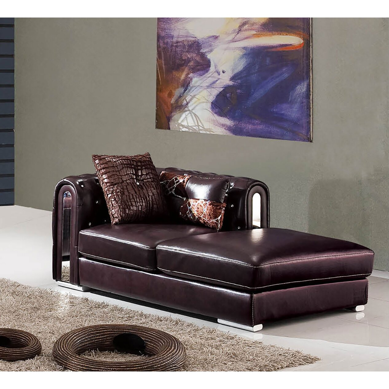 Nocidesign chaise lounge wayfair for Burgundy leather chaise