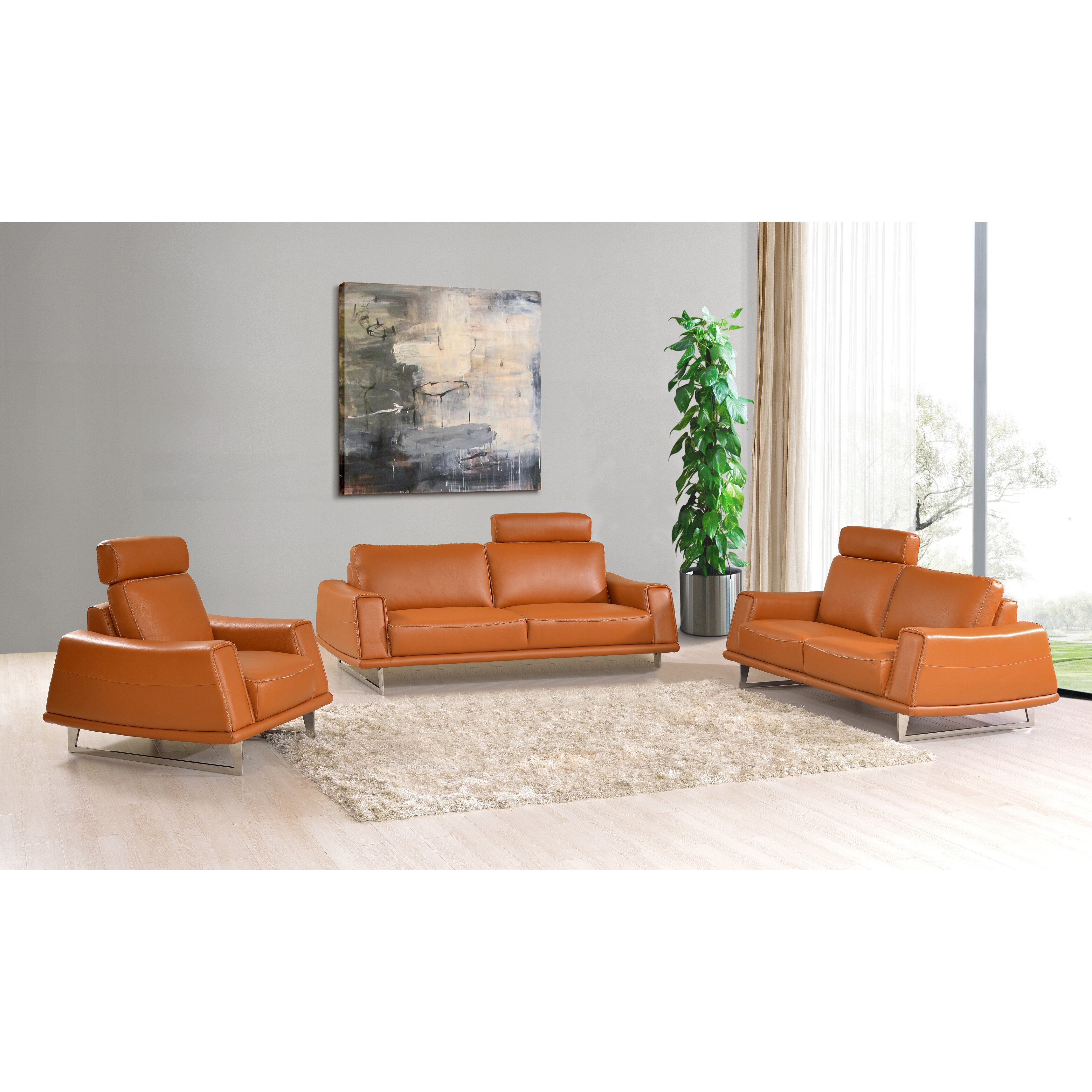 NociDesign Leather 3 Piece Living Room Set