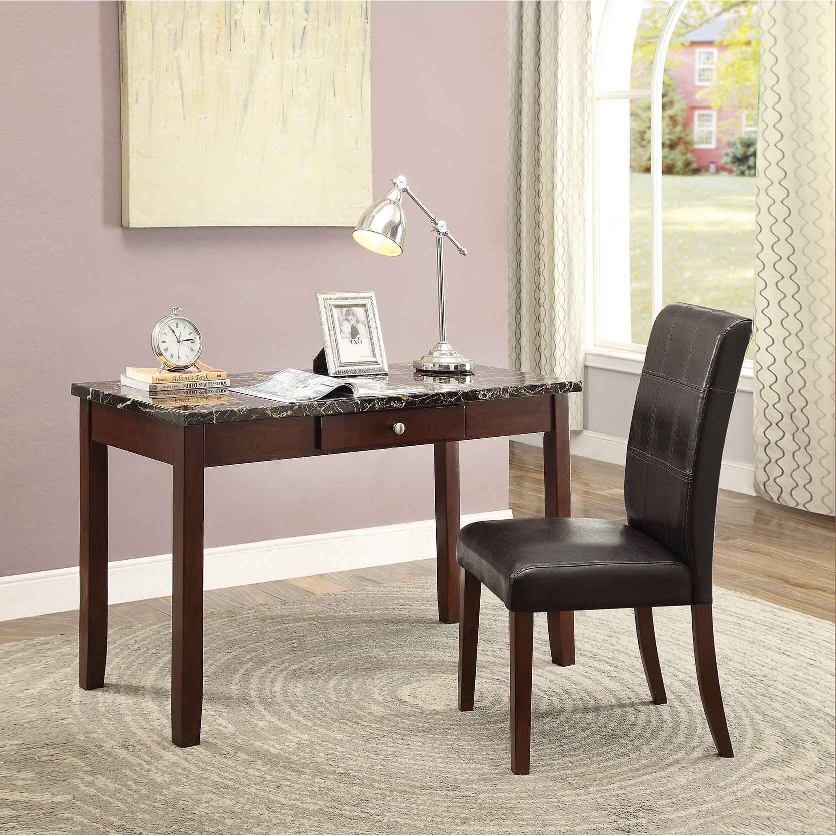 Amazing photo of Homes Studio Lorenz Writing Desk and Chair Set Wayfair with #AFA61C color and 1673x1673 pixels