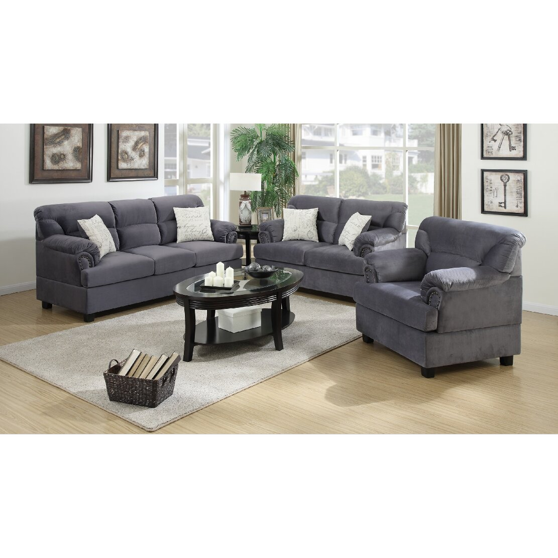 A j homes studio penny 3 piece living room set wayfair for Living room 3 piece sets