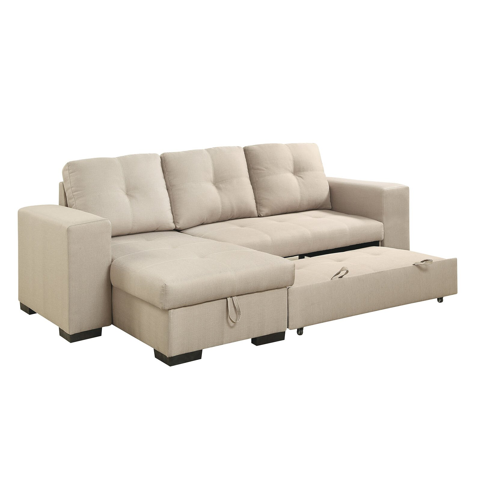Sectional sleeper sofa chaise sterling beige memory foam for Alexander sectional sofa chaise