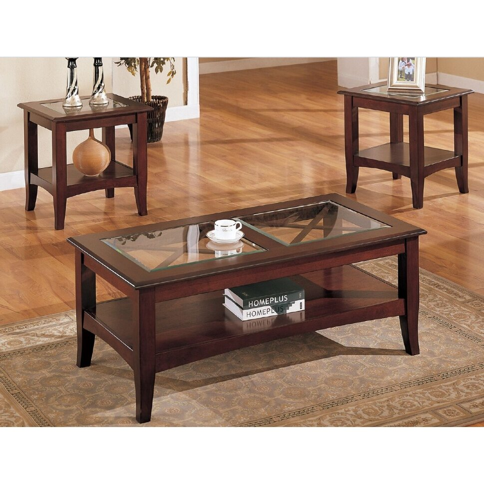 A J Homes Studio Sherwood 3 Piece Coffee Table Set