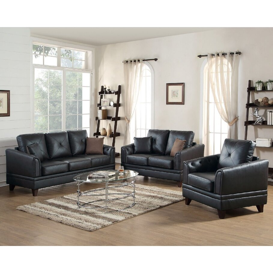 A j homes studio fenner 3 piece leather living room set for Three piece living room set