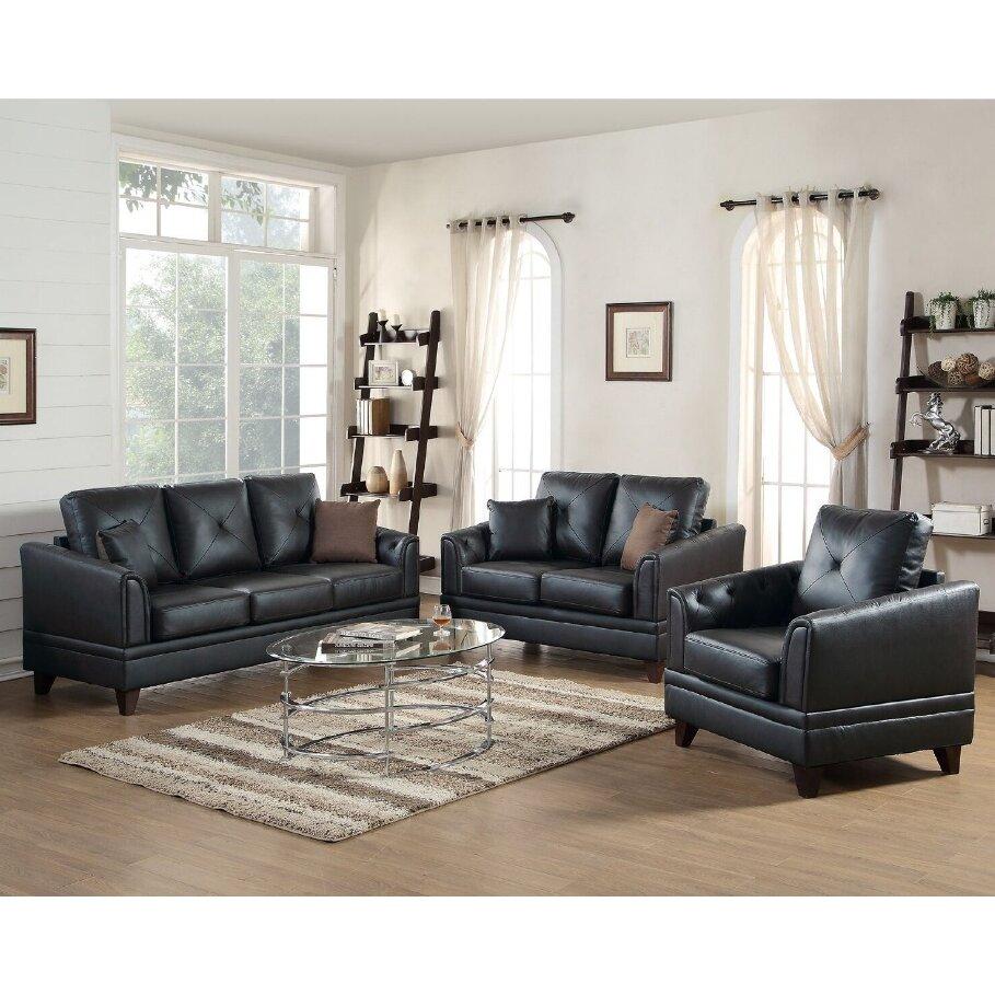 a j homes studio fenner 3 piece leather living room set wayfair. Black Bedroom Furniture Sets. Home Design Ideas