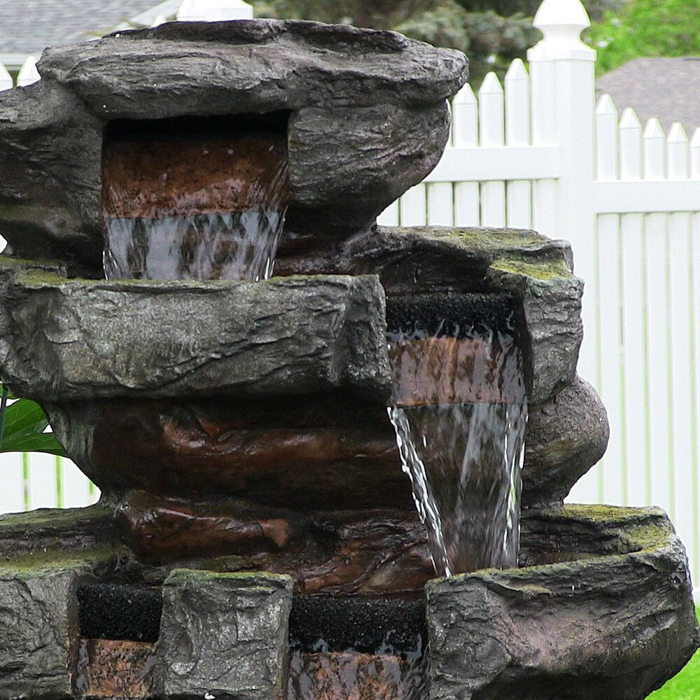 Sunnydaze decor polyresin and fiberglass outdoor electric for Tiered pond waterfall