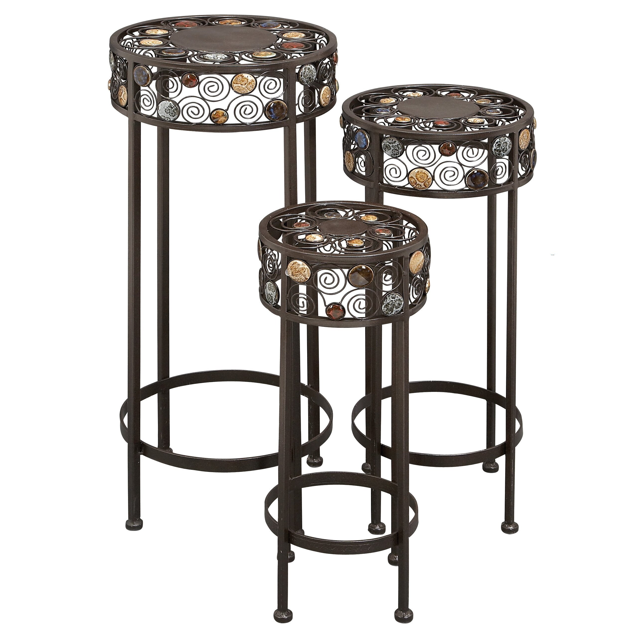 abchomecollection 3 piece ornate wrought iron plant stand set reviews wayfair. Black Bedroom Furniture Sets. Home Design Ideas