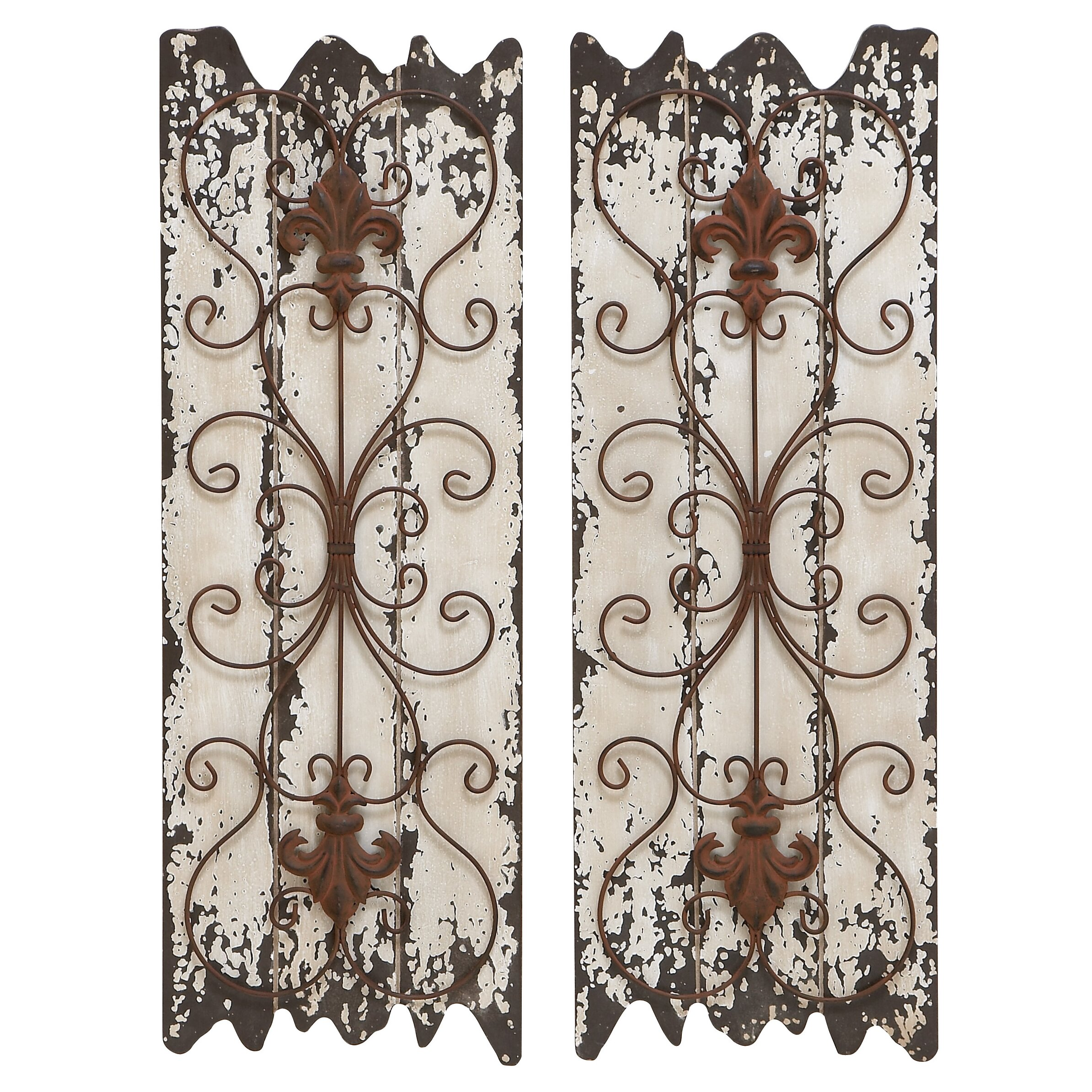 Abchomecollection fleur de lis weathered panel wall decor for Fleur de lis home decorations