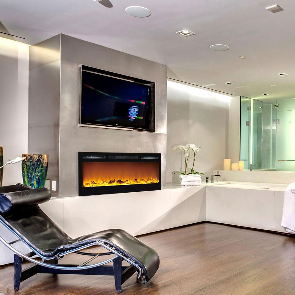 Gibson Living Madison Log Wall Mount Electric Fireplace