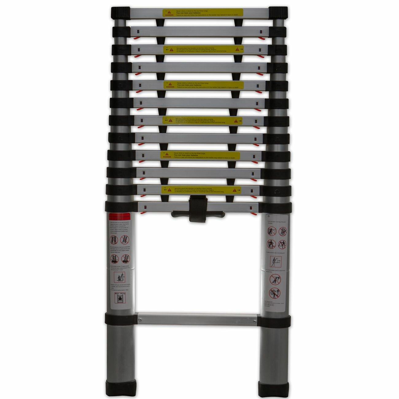 Extend Ladder 12 5 : Oxgord ft aluminum telescoping extension ladder with