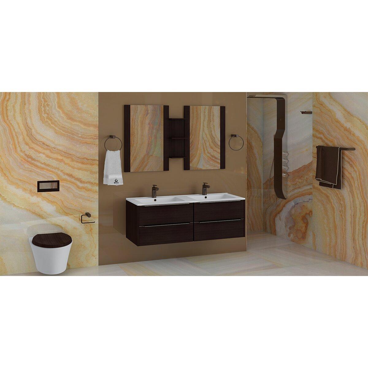 Nezza 4 piece bathroom hardware set wayfair for Bathroom hardware sets