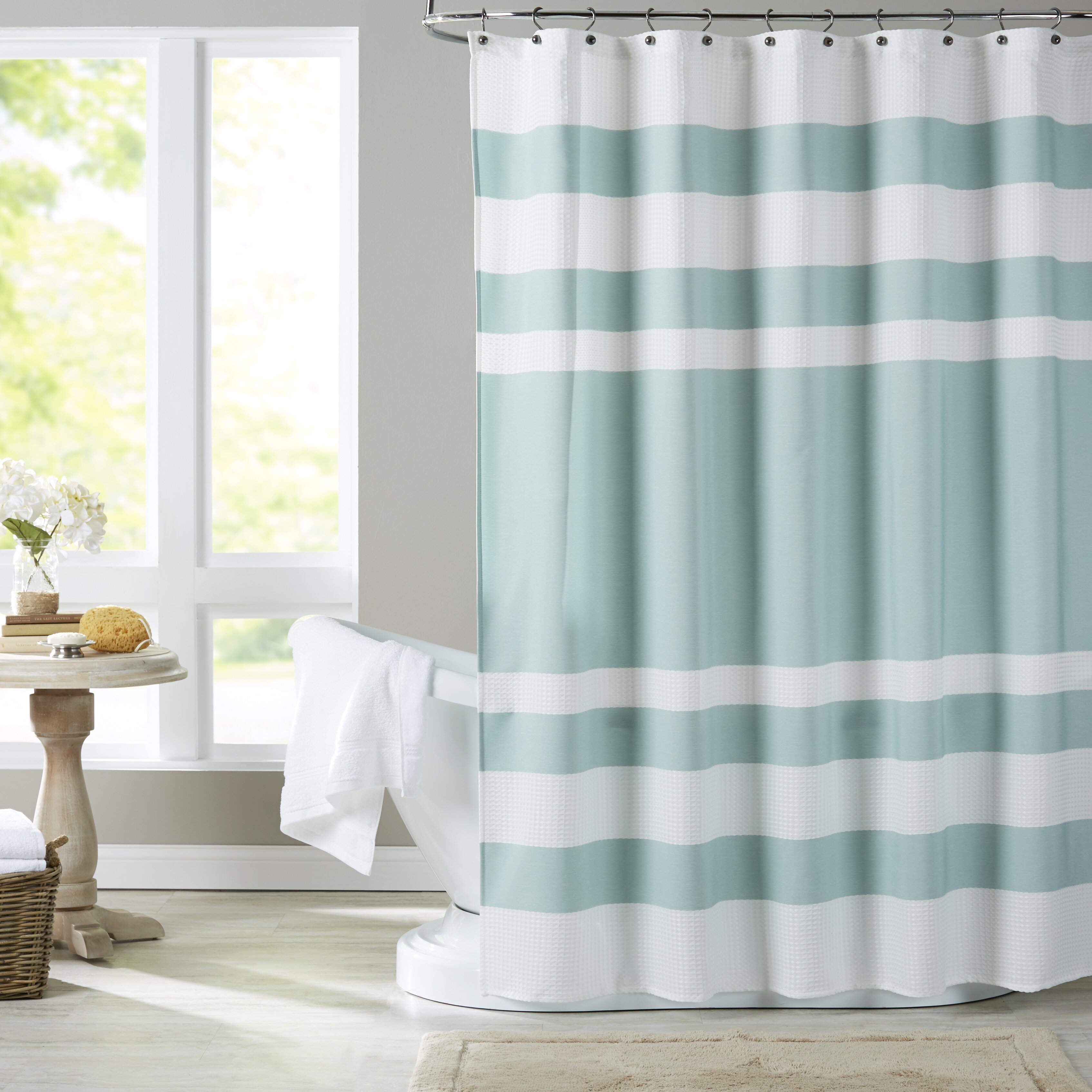 blue waverly dp amazon honeymoon books com curtains curtain chambray fabric shower