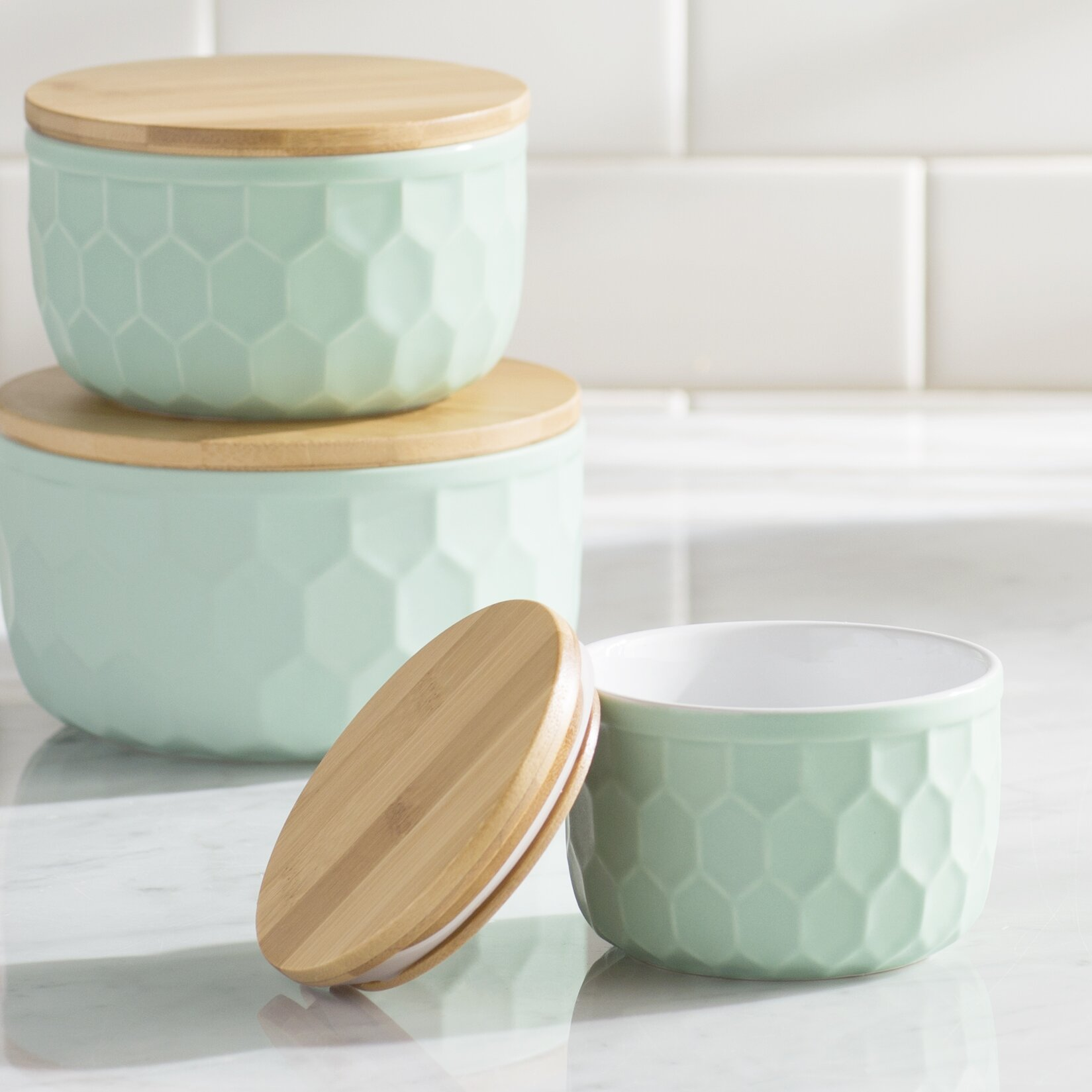 mint pantry bergamot 3 piece ceramic mixing bowl set reviews wayfair. Black Bedroom Furniture Sets. Home Design Ideas