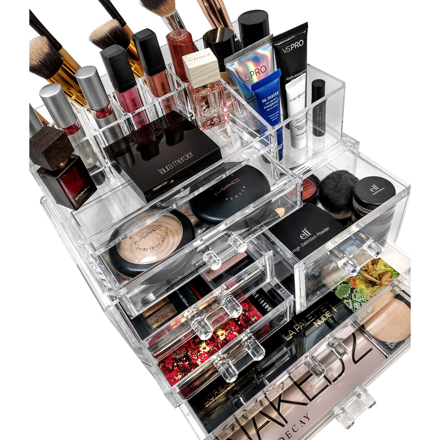 sorbus acrylic 5 drawer cosmetic organizer reviews. Black Bedroom Furniture Sets. Home Design Ideas